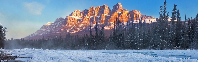 Castle Mountain in Winter - Backroads Canadian Rockies Snow Adventure Tour