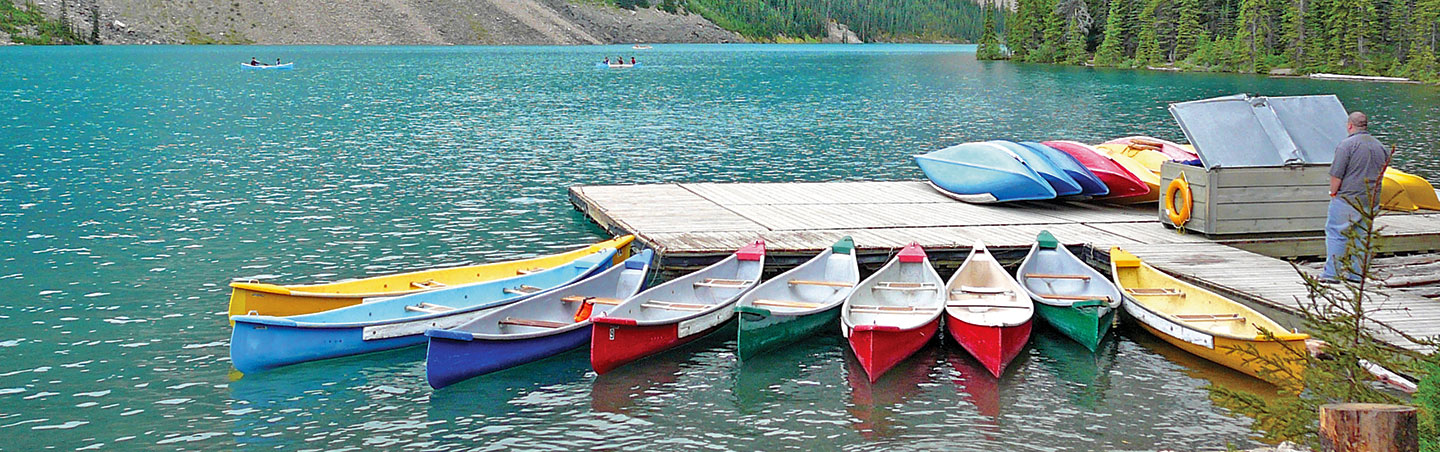 Canoes on Moraine Lake, Backroads Canadian Rockies Family Breakaway Multisport Adventure Tour