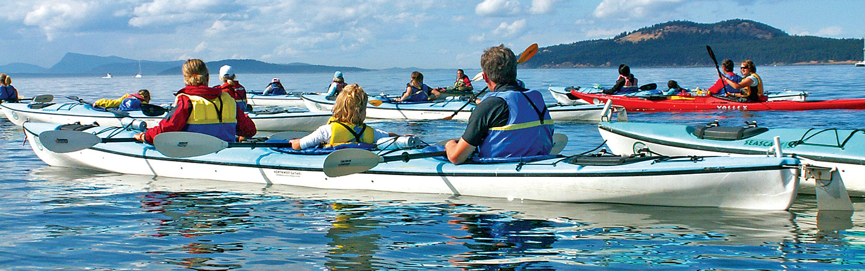 Family kayaking, San Juan Islands, Washington