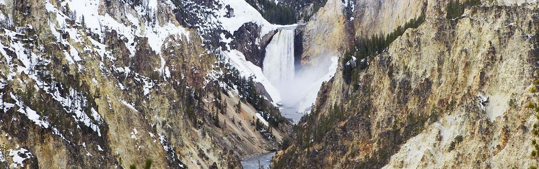 Lower Yellowstone Falls in Winter, Wyoming