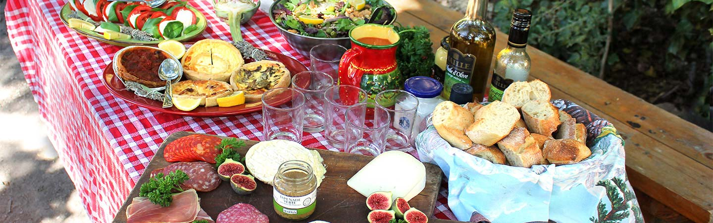 French food - Backroads lunch spread in Provence, France