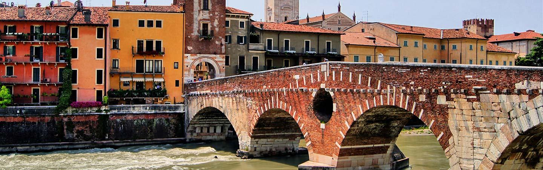 Ancient Roman bridge in Verona, Italy - Backroads Parma to Verona Bike Tour