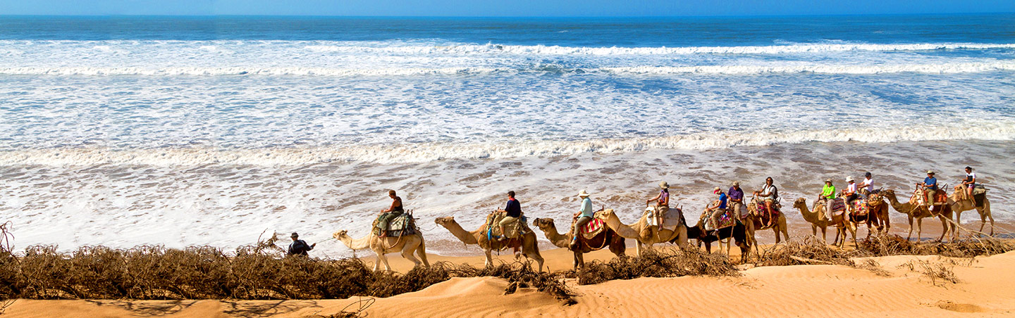 Camel Riding on Beach, Morocco