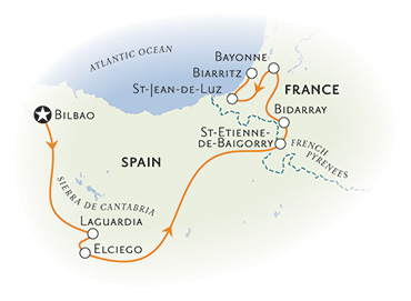 French Pyrenees & Spain's Rioja Region Map