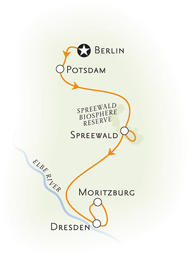Dresden and Berlin map