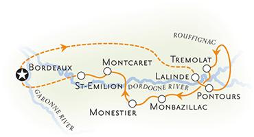 Dordogne & Bordeaux France Map