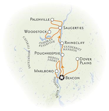 Hudson River Valley Bike Tour map