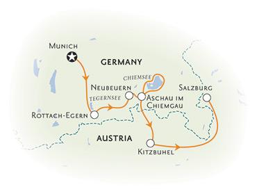 Munich to Salzburg biking tour map