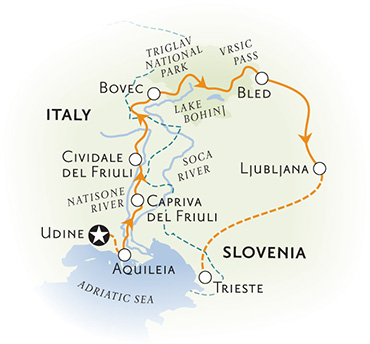 Slovenia and Italy Bike Tour Map