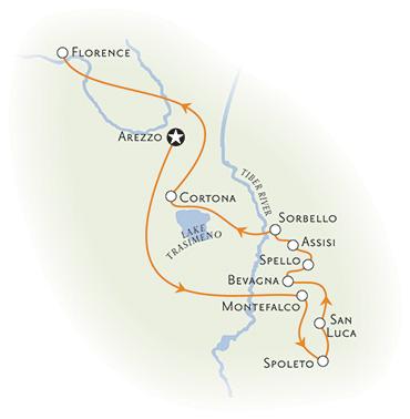 Tuscany and Umbria bike tour map