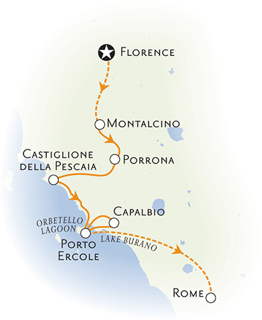Tuscan coast bike tour map