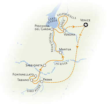 Parma and verona italy bike tour map