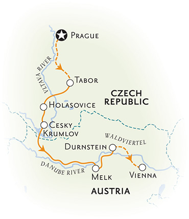 Czech Republic and Austria Biking Map