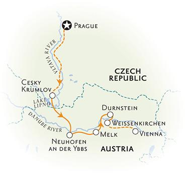 Czech Republic and Austria Biking Map