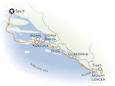 Dalmatian Coast and Montenegro Map