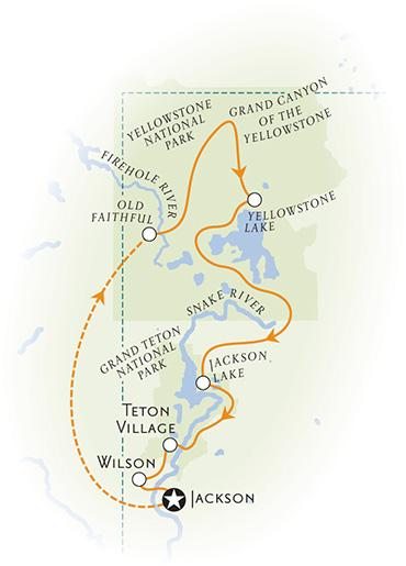 Yellowstone and Tetons Multisport Tour Map