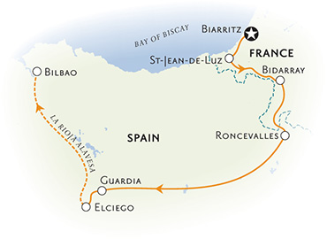 Spain and France walking tour map