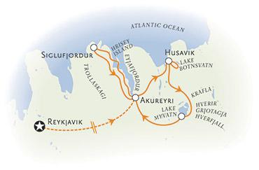 Northern Iceland walking tour map
