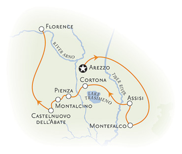 Tuscany and Umbria walking tour map