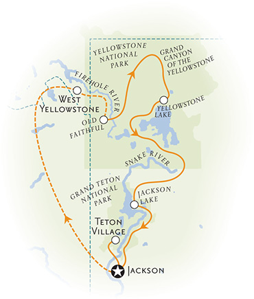 Yellowstone and Tetons Walking Tour Map