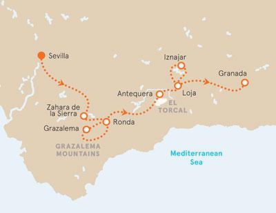 Andalucia Bike Tour map