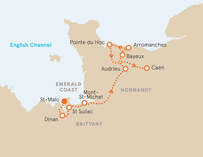 Brittany Normandy Biking Map