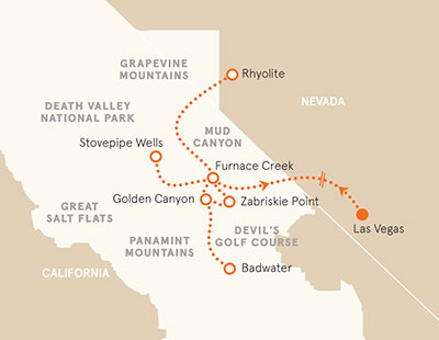 Death Valley Biking Tour Map