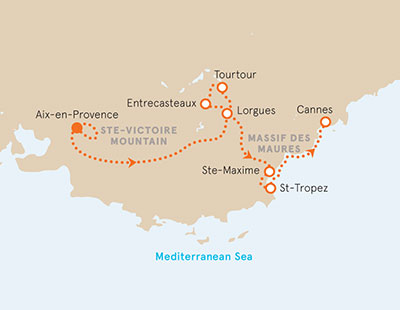 Provence to the French Riviera Map