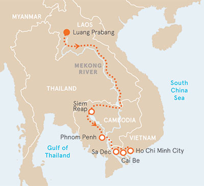 Vietnam, Cambodia and Laos River Cruise Bike Tour Map