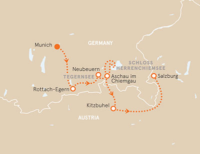 Munich to Salzburg bike tour map