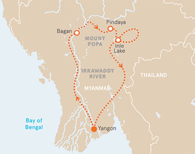 Myanmar Bike Tour Map