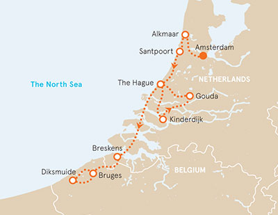holland belgium biking map