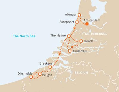 Holland & Belgium Biking Map
