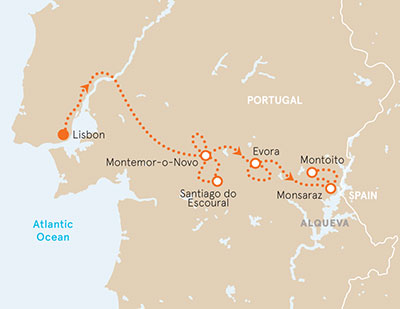 Portugal Bike Tour map