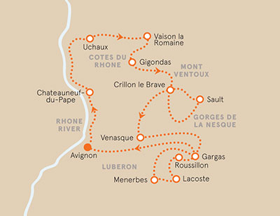 Provence Bike Tour Map