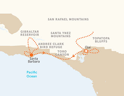 Santa Barbara and Ojai map
