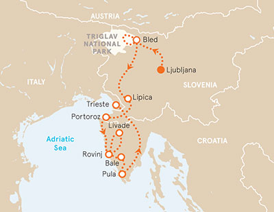 Slovenia and Croatia Bike Tour Map
