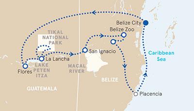Belize and Gutamala Map