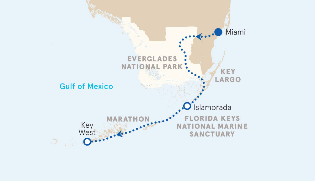 Key West and Everglades map