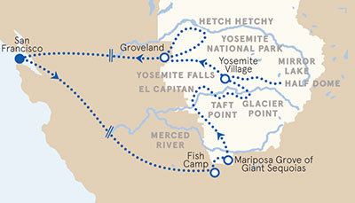 Yosemite California multi adventure tour map