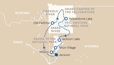 Yellowstone and Tetons Multisport Tour Map