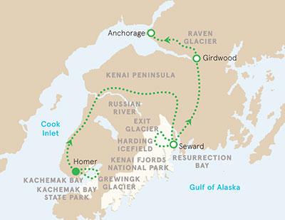 Alaska walking and hiking tour map