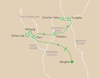 Bhutan walking and hiking tour map