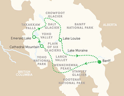 Canadian Rockies Walking Tour Map