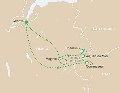 French and Italian Alps walking tour map