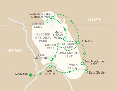 Glacier & Waterton Map
