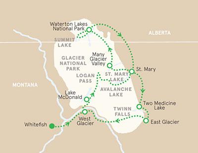 Glacier & Waterton Lakes Map