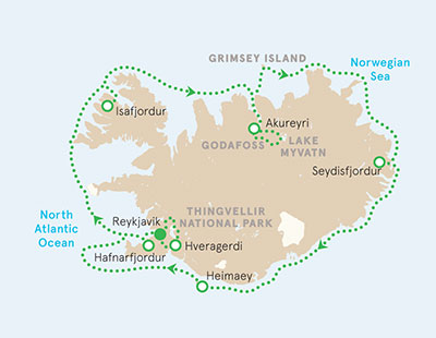 Iceland Ocean Cruise Map