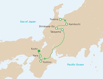 Japan Walking and Hiking Tour Map