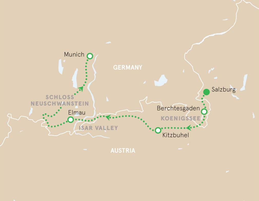 Salzburg to Munich walking tour Map
